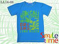 Стильная подростковая футболка р.140-146 SmileTime California, для мальчика бирюзовая