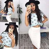 Костюм легкий,летний, хлопковая блуза и юбка-карандаш (разные цвета)