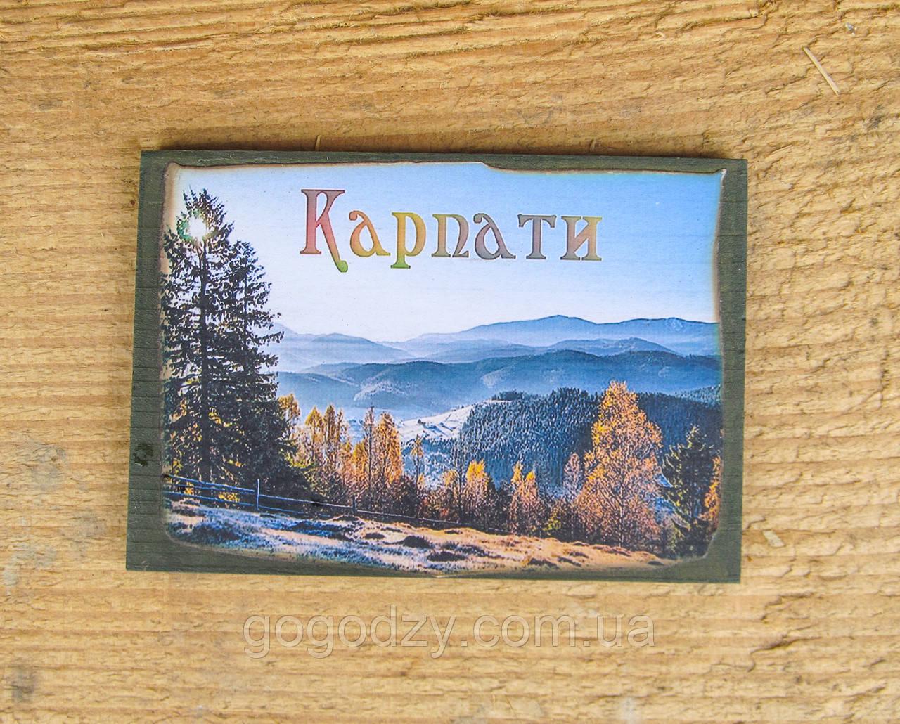 """Дерев'яний магнітик на холодильник """"Карпати"""" - 3"""