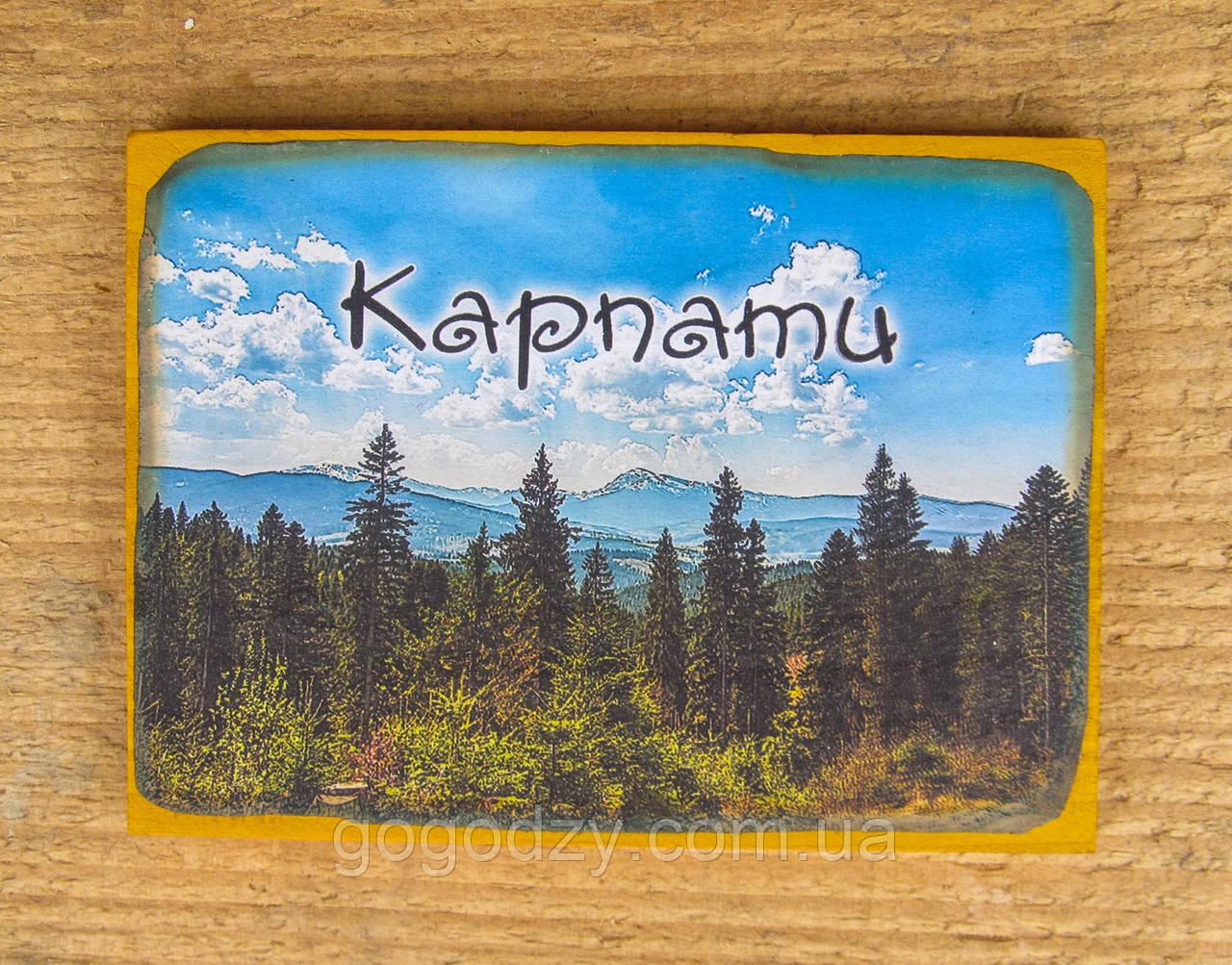 """Дерев'яна яний магнітик на холодильник """"Карпати"""" - 4"""