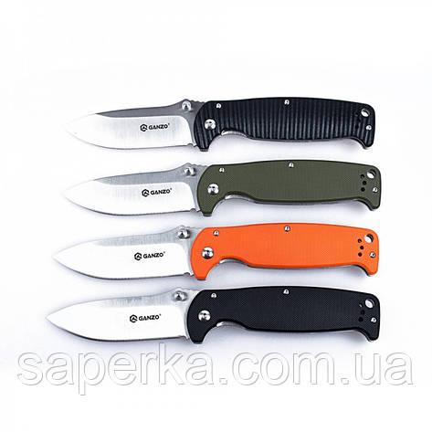 Нож универсальный Ganzo (черный, оранжевый, зеленый) G742-1-BK, фото 2