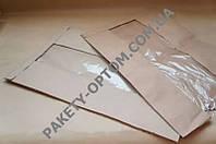 Крафт пакет бумажный с окном с V-образным дном