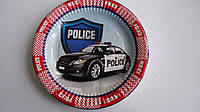 """Тарелка для праздника """"Police"""" 18см,ламин картон.Тарелка на День рождения """"Police"""".Праздничные одноразовые тар"""