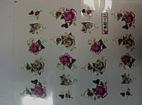 """Наклейка на ногти, наклейка для ногтей, ногтевой дизайн """"цветы со стразами"""" 20 шт набор"""