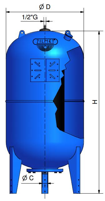 Ресивер для воды ZILMET ULTRA–PRO 500 V размеры