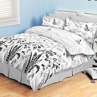 Двуспальное постельное бельё Теп Колорит - бабочки белые