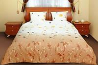 Двуспальное постельное бельё Теп Колорит - маки коричневые с бабочками