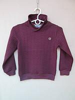 Стильный свитер для мальчика на байке бордового цвета 104-116