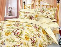 Двуспальное постельное бельё Теп Колорит - ирисы кремовые