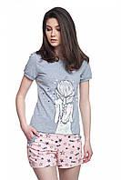 Пижама для женщин, комплект для сна, шорты и футболка , 95% хлопок, ELLEN, LNP 018/001