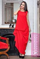 Платье красное с фактурными защипами