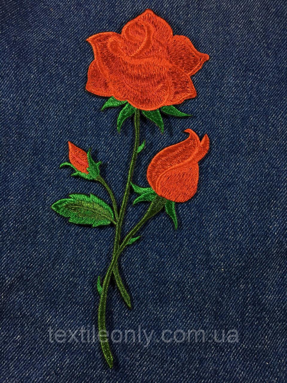 Нашивка Роза  big цвет красный