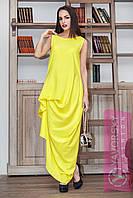 Платье жёлтое с фактурными защипами