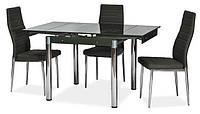Стол стеклянный раскладной ТВ21 черный обеденный, 80/130*65*75 см