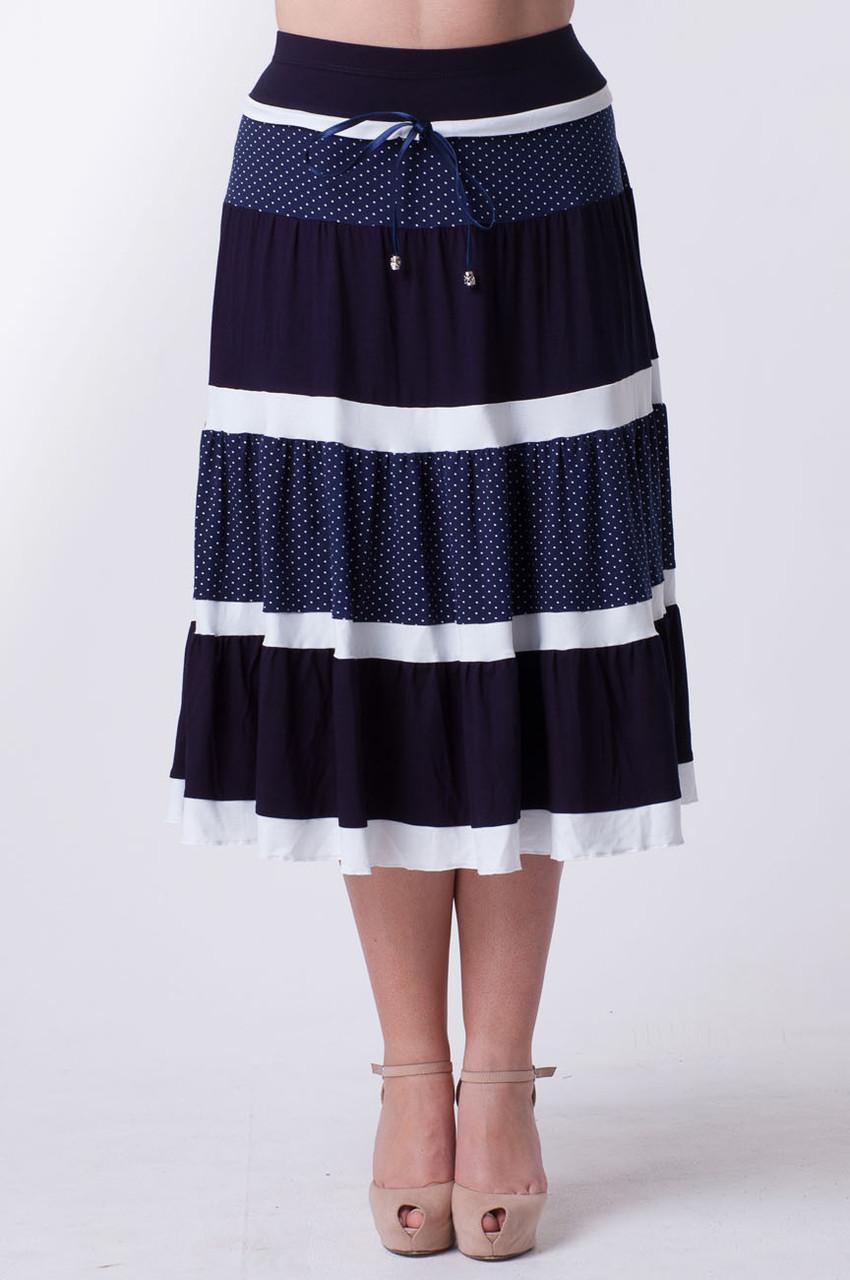 Женская летняя  юбка Горох (размер 50-58)
