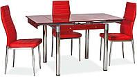 Стол стеклянный раскладной ТВ21 красный обеденный, 80/130*65*75 см
