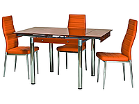 Стол стеклянный раскладной ТВ21 оранжевый обеденный, 80/130*65*75 см