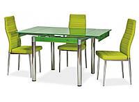 Стол стеклянный раскладной ТВ21 салатовый обеденный, 80/130*65*75 см