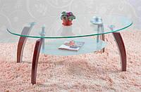 Журнальный кофейный столик СТ-339 каленое стекло, деревянные накладки на ножки, цвета вишня, стиль модерн
