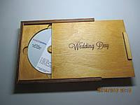 Деревянная, подарочная коробка для диска и флешки.