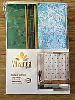 Штора для ванной, тканевая 180х200 см (МИРАНДА) зеленый с голубым