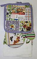 Набор для кухни Любимый дом, комплект: рукавица 16х26 см, прихватка 17х17 см, полотенце 37х62 см, дизайн Цветы
