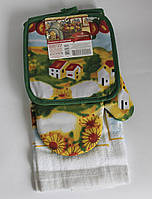 Набор для кухни Любимый дом, комплект: рукавица 16х26 см, прихватка 17х17 см, полотенце 37х62 см, дизайн Лето