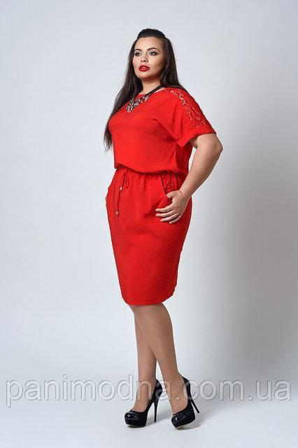 """Штапельное  женское платье с кружевом под поясок - """"Анет"""" код 518"""