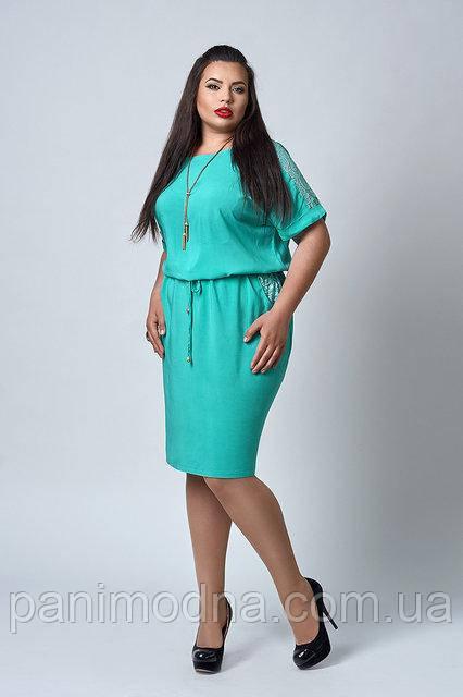 """Штапельное легкое женское платье с кружевом под поясок - """"Анет"""" код 518"""