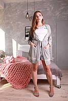 Красивый женский халатик Грация светло-серый