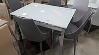 Стол стеклянный раскладной ТВ14 ультрабелый, 96/156*70*75 см