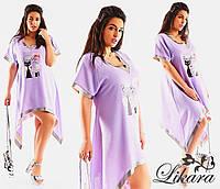 Женское льняное платье-туника асимметричное