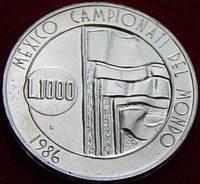 Серебряная монета Сан-Марино 1000 лир. 1986 год.
