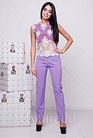 Топ фиолетовый с белым гипюром