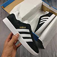 Мужские кроссовки Adidas Gazelle 🔥 (Адидас Газели) Black/White