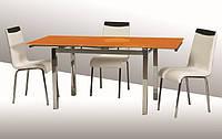 Стол стеклянный раскладной ТВ14 оранжевый, 96/156*70*75 см