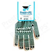 Перчатки трикотажные с ПВХ для садовых работ(белый+зеленый)