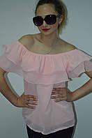 Женская шифоновая блуза с валаном Италия, фото 1