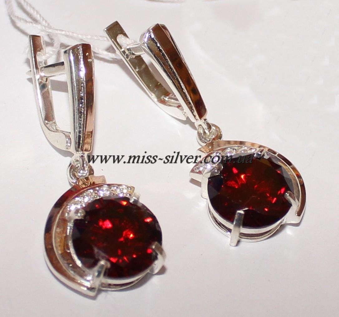 Сережки-підвіски з каменем Лейла