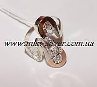 Кольцо с цирконами и золотом Симфония, фото 1