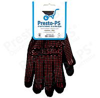 Перчатки трикотажные с ПВХ для садовых работ (черный+красный)