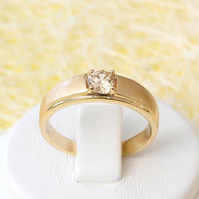 R1-2570 - Позолоченное кольцо с шампаневым фианитом, 18 р.