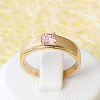 002-2572 - Позолоченное кольцо с розовым фианитом, 18 р.