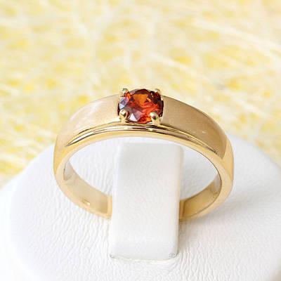 002-2574 - Позолоченное кольцо с красным фианитом, 18 р.