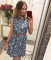 Женское платье ткань-тонкий джинс пояс в комплекте  ЕЛХ 195