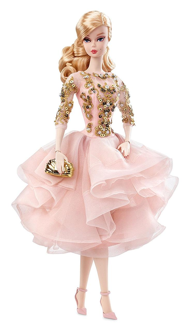 Коллекционная кукла Барби Блестящее и золотое платье для коктейля / Blush Gold Cocktail Dress Barbie Silkstone
