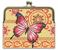 """Набор для вышивки бисером """"Заготовка Клатч """"Розовая бабочка"""""""