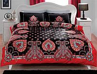 Двуспальное евро постельное белье TAC Farrah Black Сатин-Delux