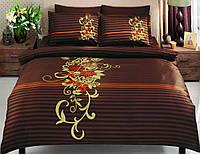Двуспальное евро постельное белье TAC Siena Brown Сатин-Delux