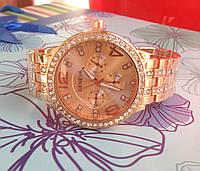 Часы с металлическим ремешком (розовое золото)
